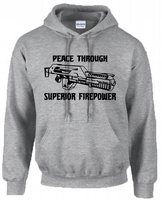 PEACE THROUGH FIRE POWER HOODIE - INSPIRED BY ALIEN STARSHIP TROOPERS
